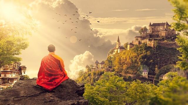 瞑想する僧侶