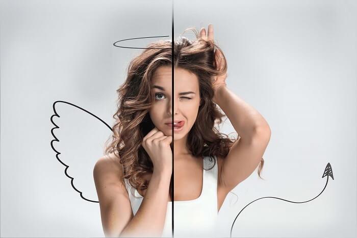 半分天使で半分悪魔の女性