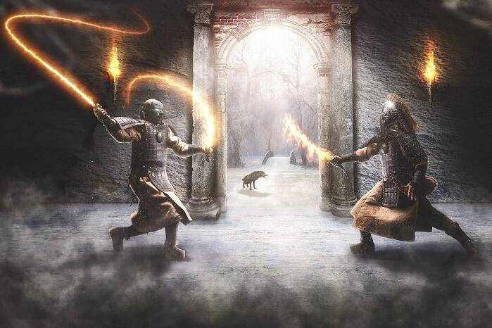 鎧を着て戦う男性二人