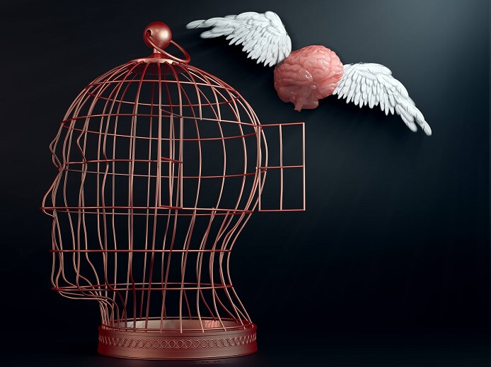 頭の形の檻から飛び出す羽のついた脳